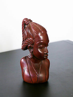 Hand carved wood African woman figurine bust. Beautiful! Mahogany?