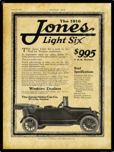 1916 Jones Motor Car Co. New Metal Sign: Light Six Model - Wichita, Kansas
