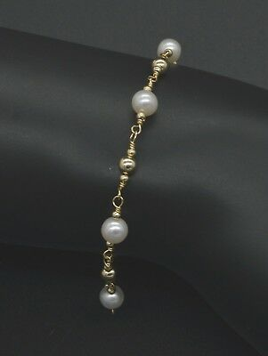 New Exquisite 14K Solid Gold 4mm & Natural 5mm Cultured Pearl Beaded bracelet