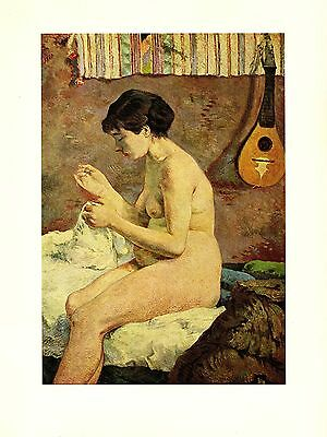 "1972 Vintage GAUGUIN ""STUDY OF THE NUDE"" SEWING & GUITAR COLOR offset Lithograph"