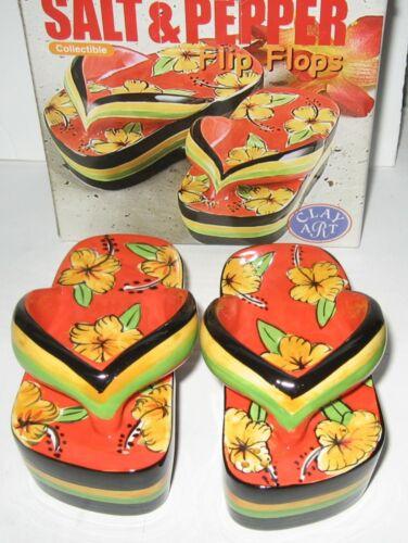 Flip Flop Salt and Pepper Shaker Set 2004 Clay Art # 7638 New in Box