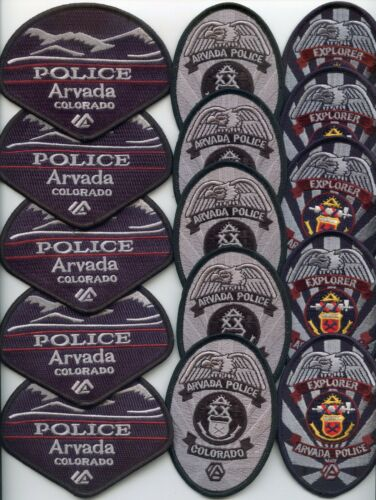 ARVADA COLORADO Patch Lot Trade Stock 15 Police Patches EXPLORER & POLICE PATCH