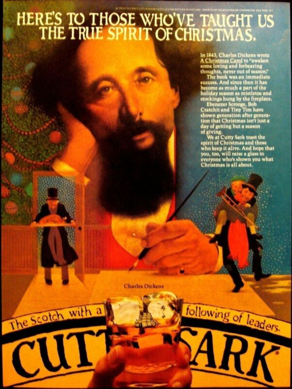 CUTTY SARK - CHARLES DICKENS - VINTAGE 1981 SCOTCH AD - ADVERTISING
