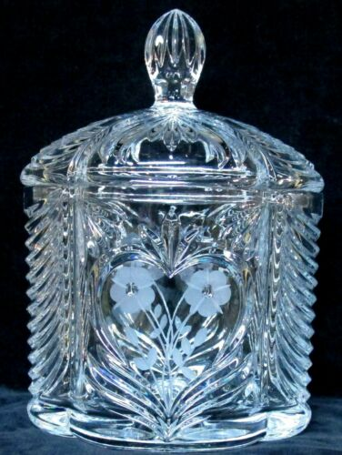 clear crystal glass COOKIE JAR etched flowers inside a heart and drapery design
