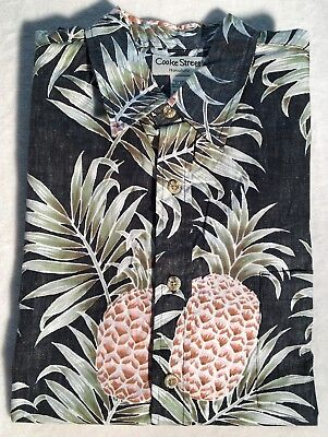 (New Mens Cooke Street Hawaiian Shirt. Black W/Pineapple Pattern. Multiple Sizes)