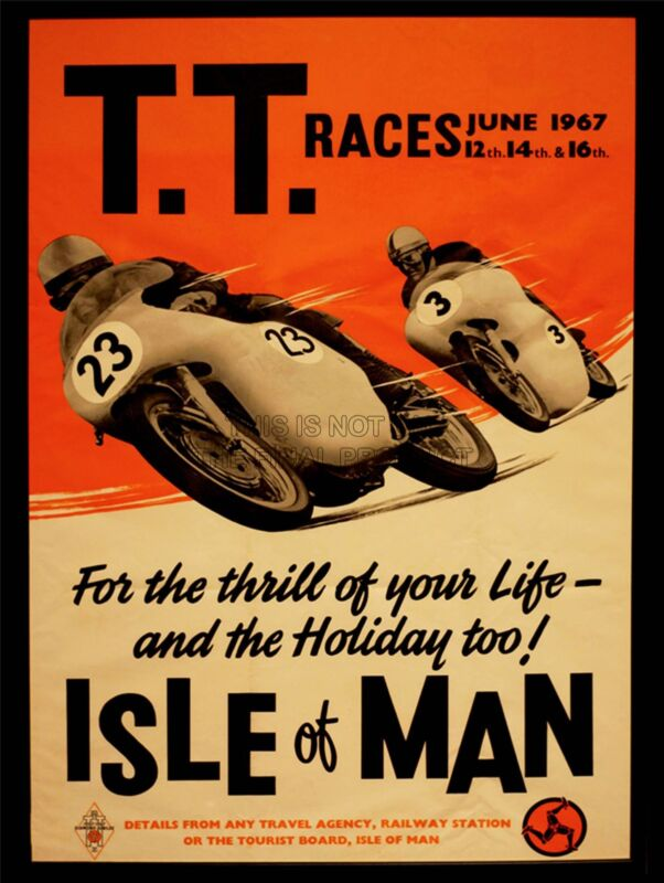 ADVERT TRANSPORT TT RACES BIKES ISLE OF MAN TT RACES 1967 ART POSTER CC2621