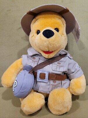 "Vintage Disney 9"" Winnie The Pooh Safari Bear Plush Animal Kingdom World Stuffed"