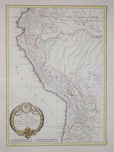 PERU - CARTE DU PEROU  PUBLISHED BY LATTRE, 1772.