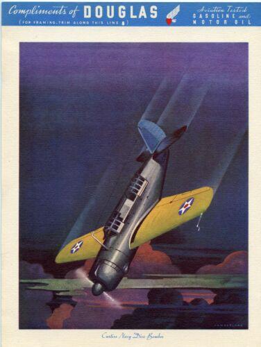 Vintage Douglas Aviation Tested Gasoline Curtiss Navy Dive Bomber WWII Art Print