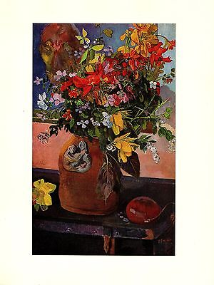 """1972 Vintage GAUGUIN """"STILL LIFE WITH FLOWERS"""" LOVELY COLOR offset Lithograph"""
