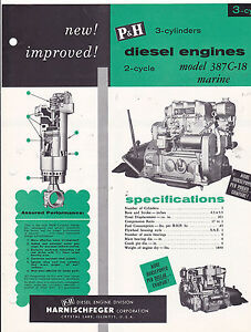 VINTAGE-AD-SHEET-3319-P-amp-H-MARINE-DIESEL-ENGINES-MODEL-387C-18