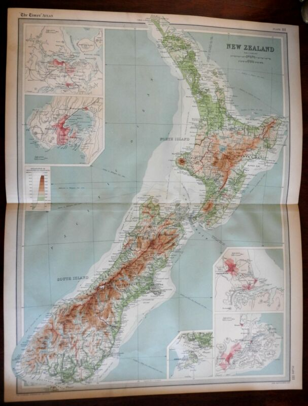 New Zealand Auckland Wellington Christchurch Dunedin c. 1920 large detailed map