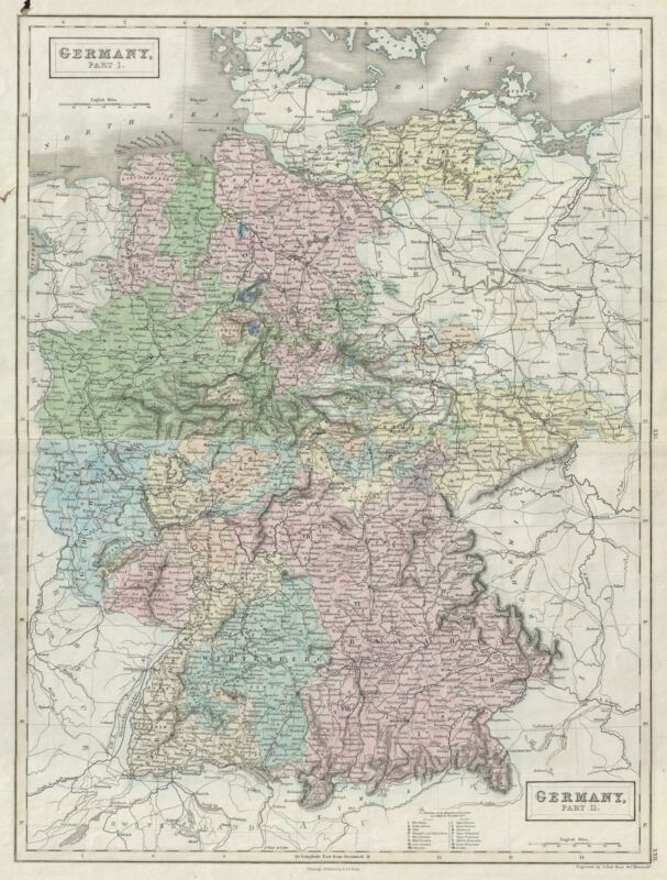 1851 Black Map of Germany