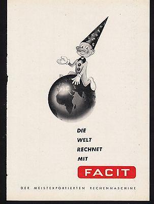 3w1152/ Alte Reklame - von 1957 - Die Welt rechnet mit FACIT - Rechenmaschinen