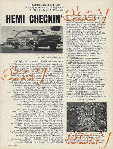 1966 Plymouth 426 Street Hemi Vintage Magazine Article Ad Belvedere Satellite 66