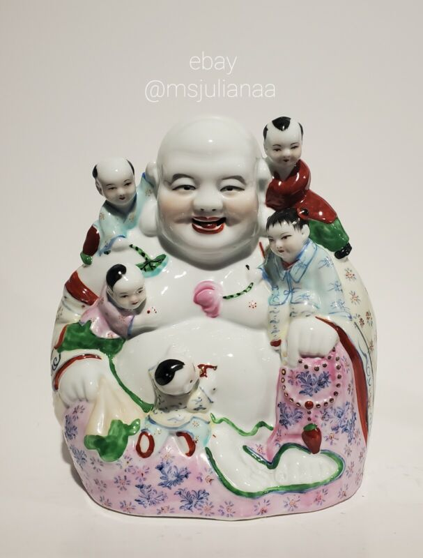 """10.5 """" Vintage Chinese Porcelain Laughing Buddha With Children Statue Heavy"""