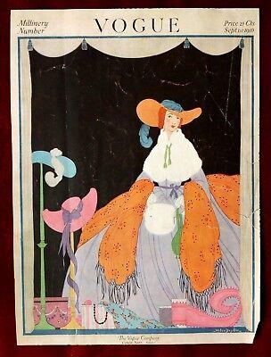 Vogue Magazine Original Cover Only ~ September 1, 1916 ~ Helen Dryden