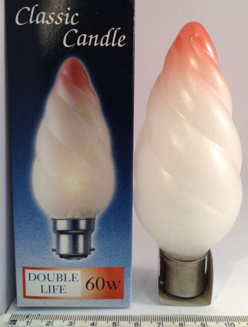 4 X 55mm CROMPTON 2000HR TWISTED FROSTED PINK TIP 60W BC CANDLE LIGHT BULBS