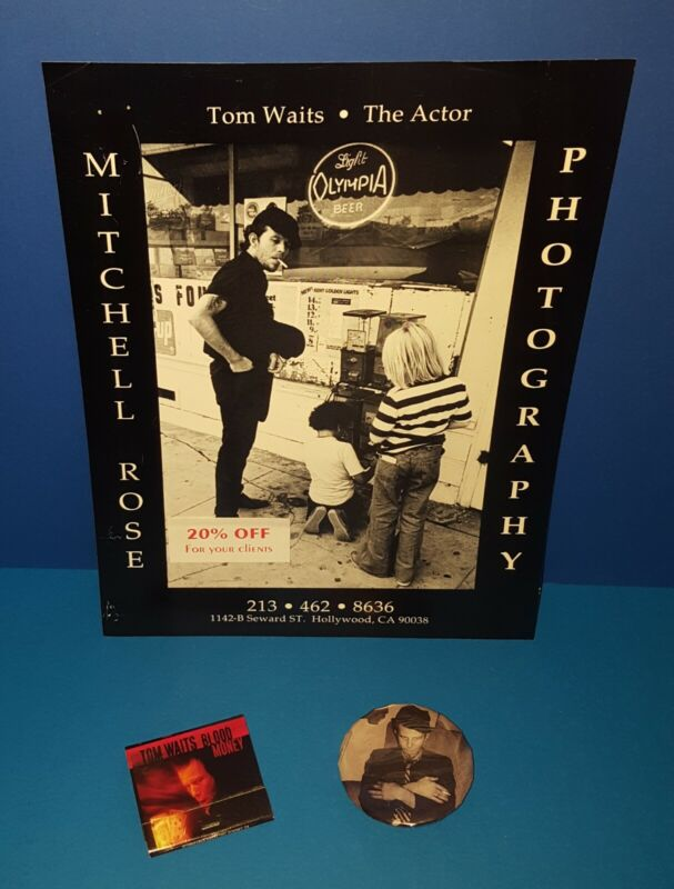 "TOM WAITS PROMO ONLY AD FOR PHOTOGRAPHER,"" BLOOD MONEY "" MATCHES & SHOW BUTTON"