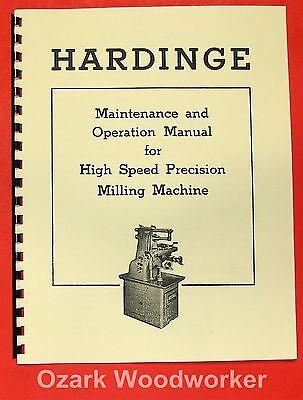 Hardinge Horizontal Milling Machine Operators Maintenance Manual 0939