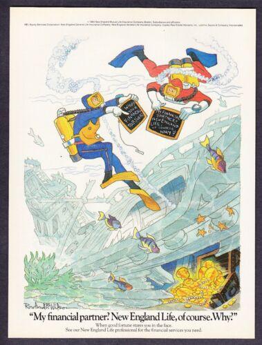 1984 Scuba Divers Cartoon art by Rowland B. Wilson New England Life print ad