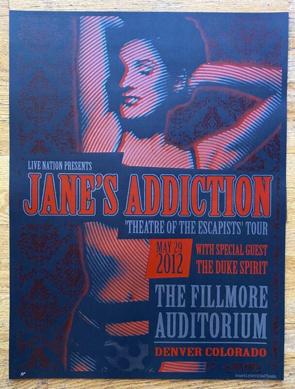 JANE'S ADDICTION DENVER 2012 FILLMORE ORIGINAL SILKSCREEN CONCERT POSTER