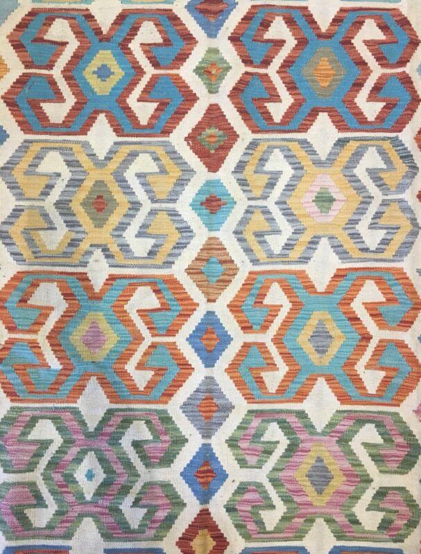 Crisp Colorful - New Kilim Rug - Flatweave Tribal Carpet - 6.6 X 10 Ft.