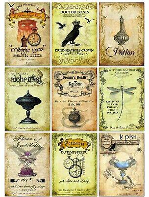 Halloween Elixir Labels (Halloween Vintage Inspired 9 Poison Potion Elixir Tonic Bottle Labels glossy )