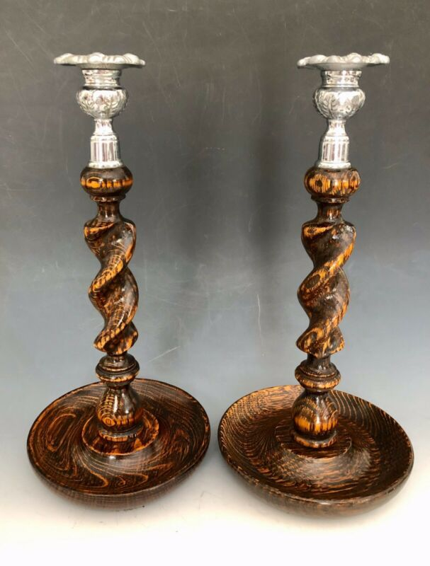 EXCELLENT PAIR ANTIQUE ENGLISH BARLEY TWIST OAK WOOD CANDLESTICKS CANDLE HOLDERS
