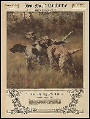 "Hunting Bird Dogs, Hounds, HUNT, antq 1919 NY Tribune article, 20""x16"" Art print"