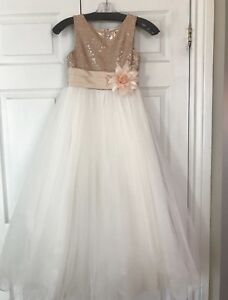 Rose gold and ivory flower girl dress