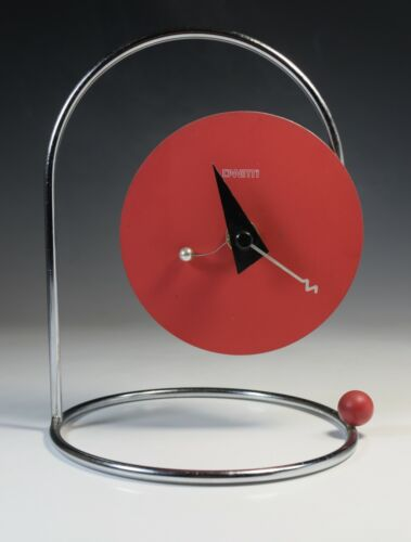 Vintage Memphis Style Table Clock Italy Modernism Streamlined Design 1980