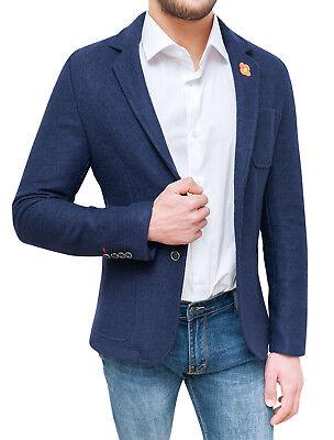 Giacca blazer uomo sartoriale blu slim fit cappotto casual elegante in lana