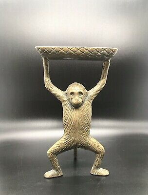 Vintage Brass Standing Monkey - Business Card Holder - Soap Dish - Trinket Tray