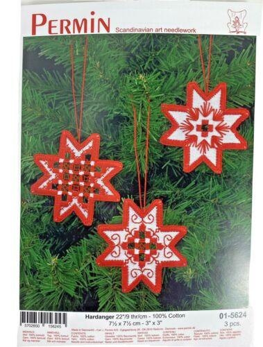 Permin Hardanger Kit 01-5624 Christmas Stars red White Scandinavian needlework
