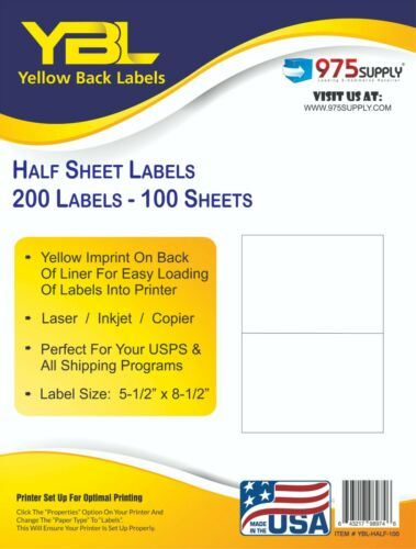 "YBL 1000 Inkjet/Laser Half Sheet Shipping Labels 8.5 x 5.5"" Yellow Imprint"