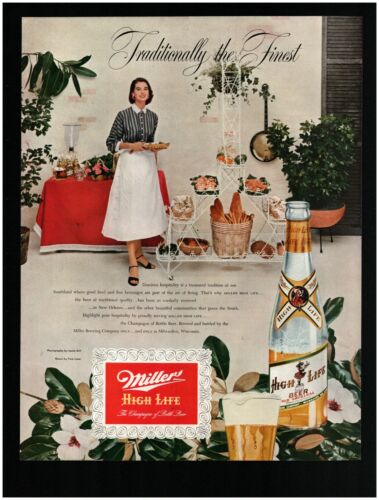 1952 Miller High Life Beer Original Print Ad ~ Free Ship ~ Happy Party Hostess