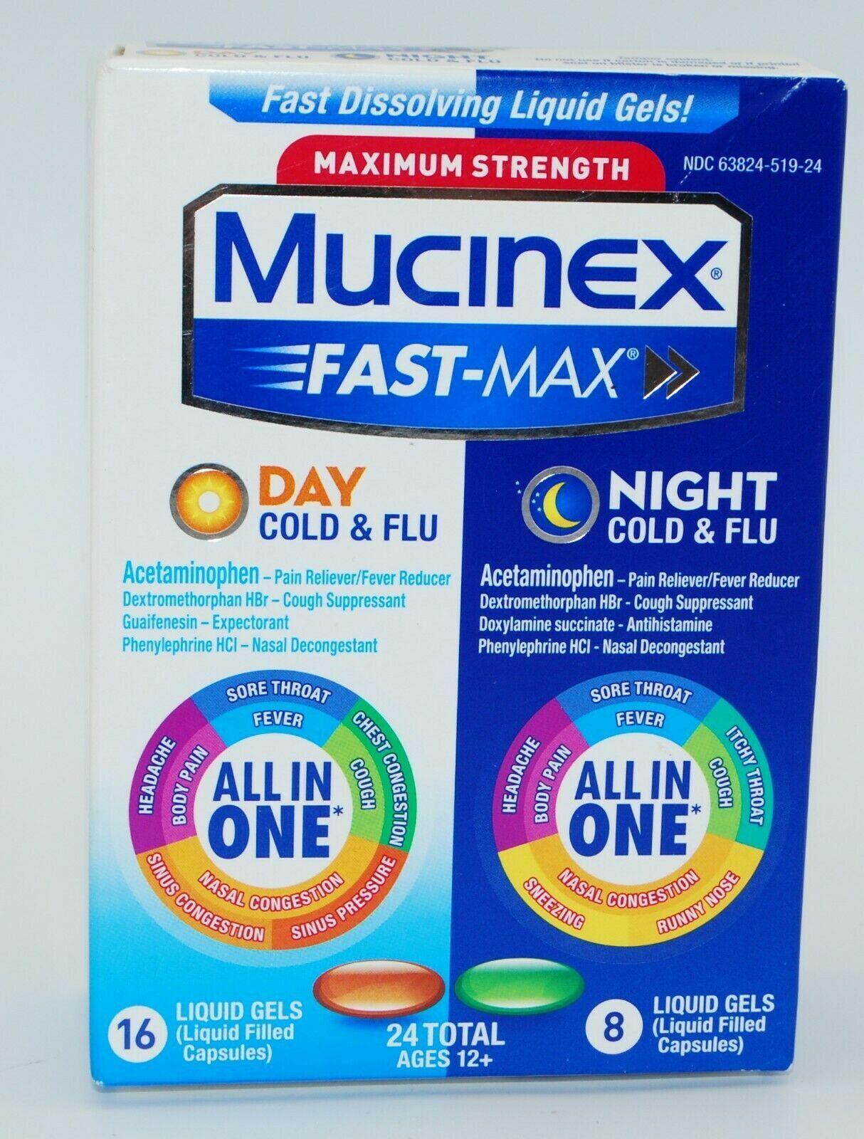Mucinex Fast-Max Day/Night Cold & Flu Medicine, 24 Liquid Ge