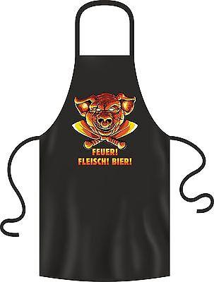 Schürze Fun-Schürze Kochschürze BBQ grillen FEUER FLEISCH BIER Geschenk NEU