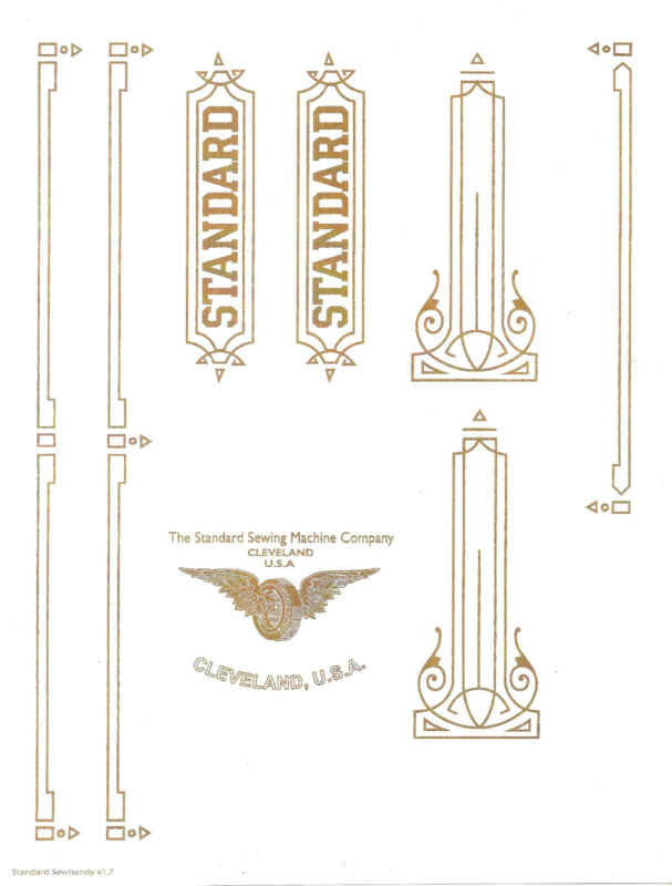 Standard Sewhandy Sewing Machine  Restoration Decals
