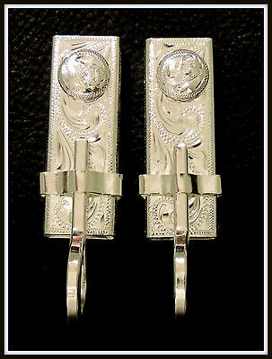 "2 - 5/8"" Silver Hand Engraved Bit Hangers for Headstall / Bridle with conchos"