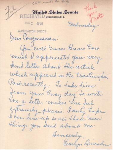 Evelyn Lincoln -- private secretary to John F. Kennedy, handwritten letter