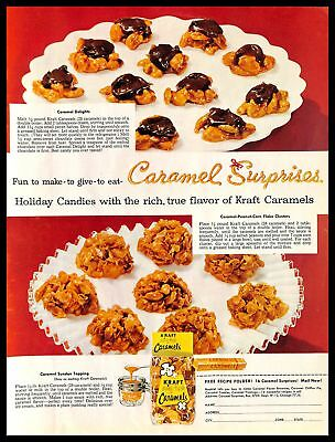 1956 Kraft Dairy Fresh Caramels Vintage PRINT AD Holiday Candies Recipes Dessert