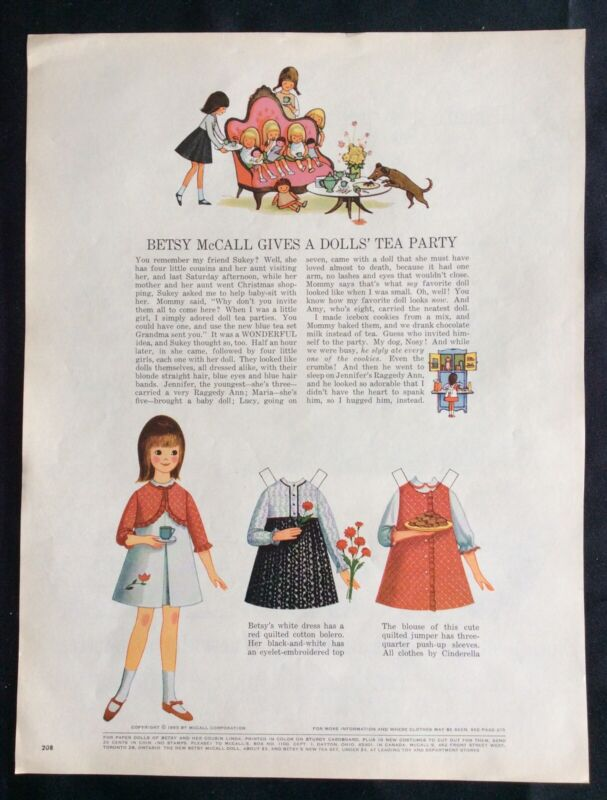 Vintage Betsy McCall Mag. Paper Doll, Betsy Gives a Doll's Tea Party, Nov. 1965