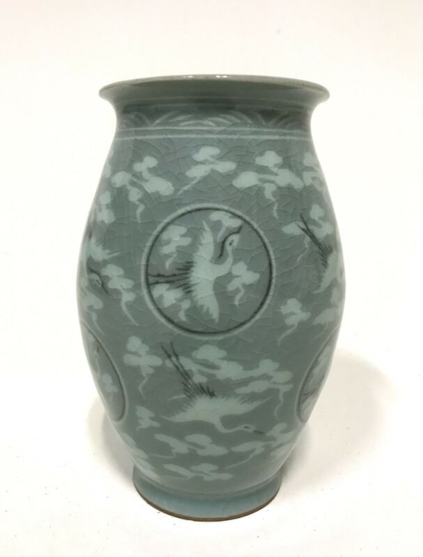 Antique Korean Koryo Dynasty Birds Vase Green Celadon Asian Oriental Artifact