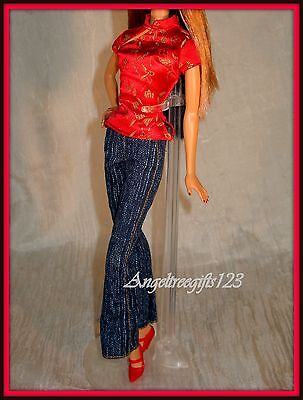 Chinese Asian city style top and jeans fits barbie model muse and fashion fever