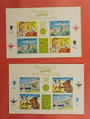 2 IMPERF DELUXE SHEET PROOF CARD 1985 BURKINA FASO PHILEXAFRIQUE SHEETS #C311-12