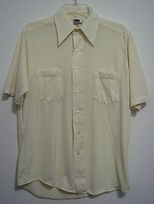 Montgomery Wards 15.5 Polyester Mad Men Vintage Halloween Nerd Button Shirt