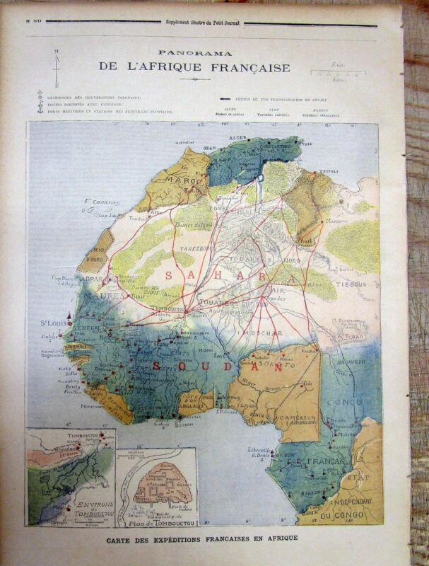 Large original 1894 Color map of NORTH WEST AFRICA Algeria LIBYA Liberia CONGO +