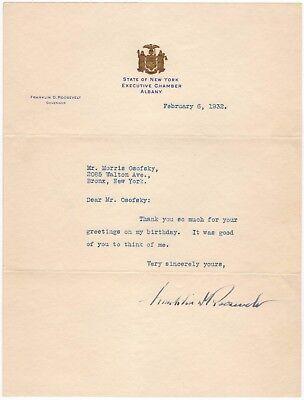 Franklin D. Roosevelt (US Präsident) – Brief mit eigenh. Unterschrift